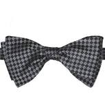 Black & Silver Checks Silk Bow Tie - KITOKO
