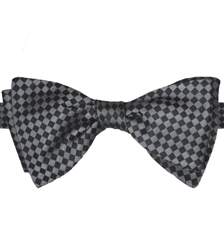 Black & Silver Checks Silk Bow Tie