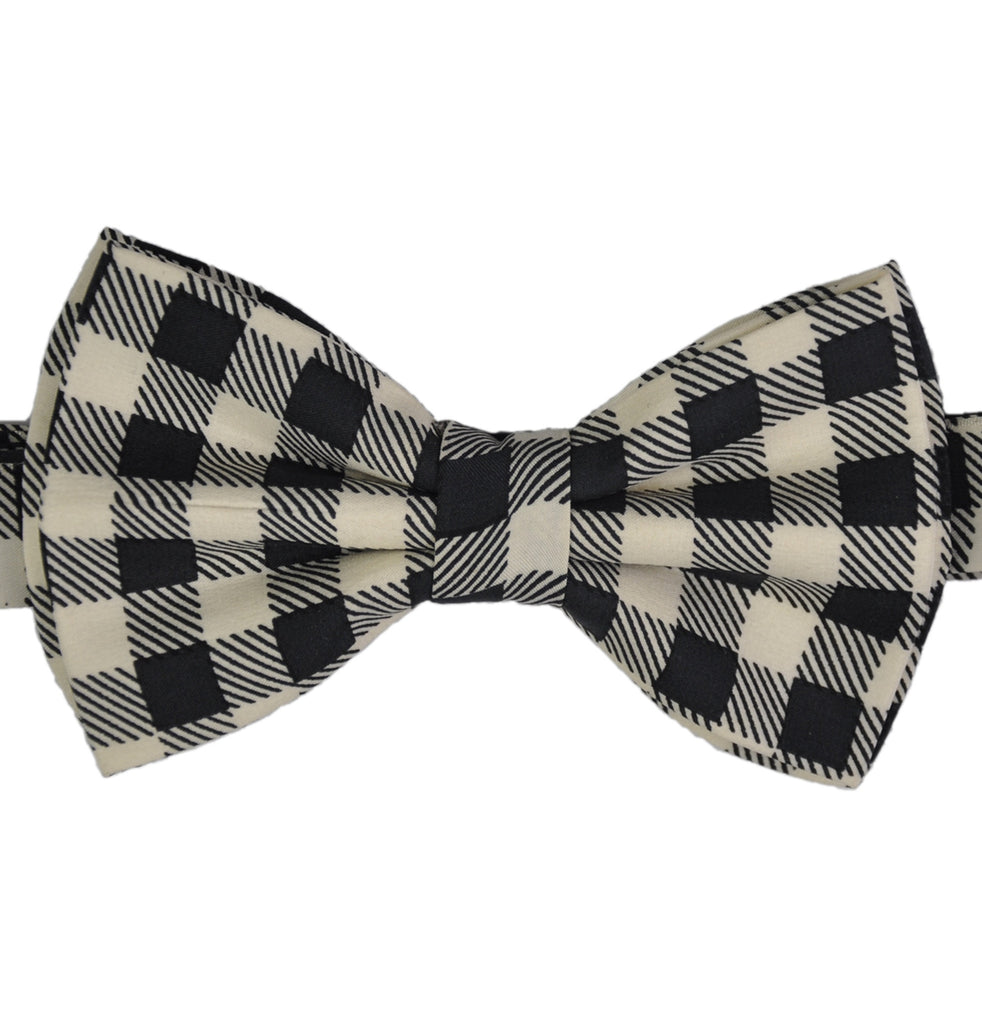Black & Winter White Checks Silk Bow Tie - KITOKO