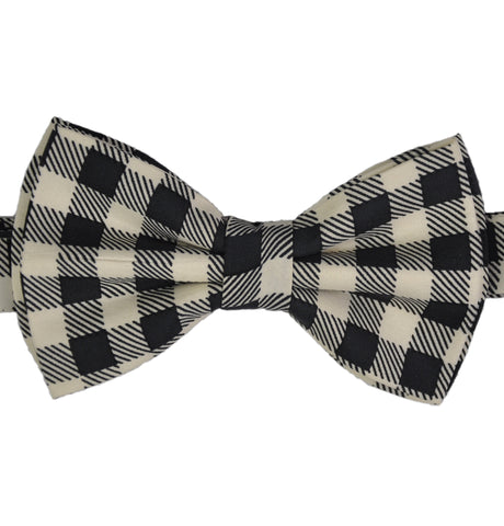 Monochrome Checks Silk Bow Tie
