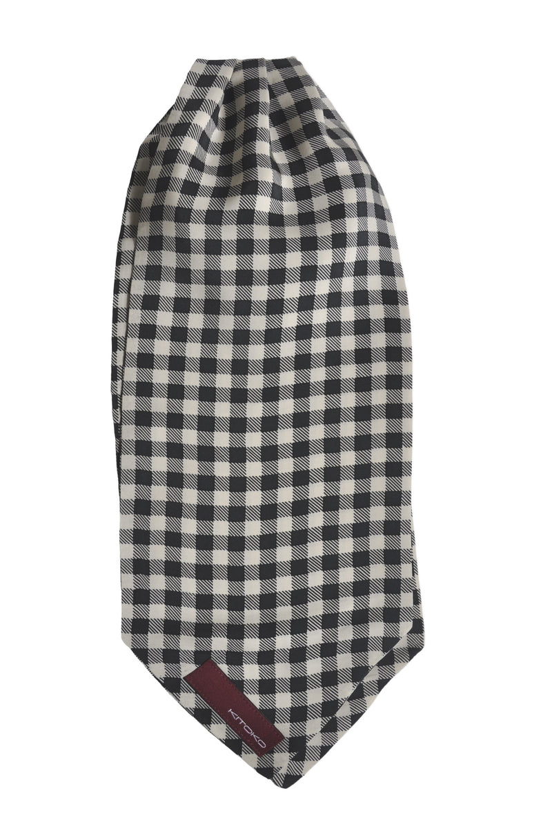 Monochrome Checks Silk Cravat - KITOKO