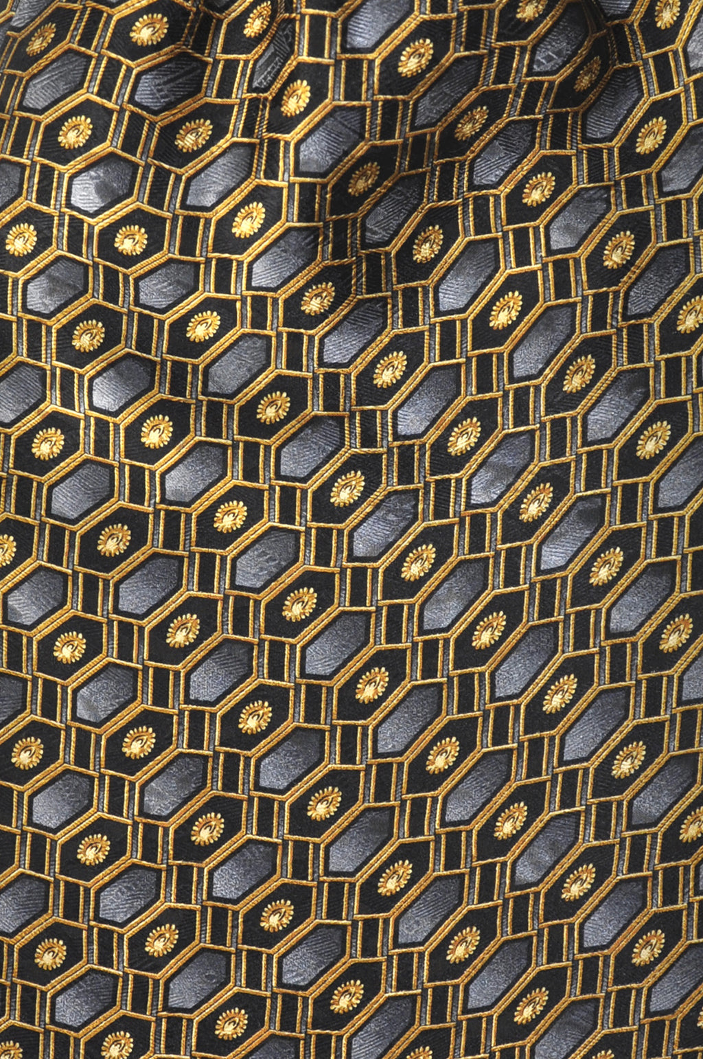 Gold Black & Grey Geometry Silk Cravat - KITOKO