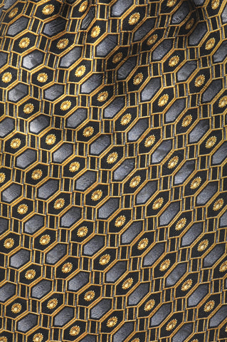 Gold Black & Grey Geometry Silk Cravat