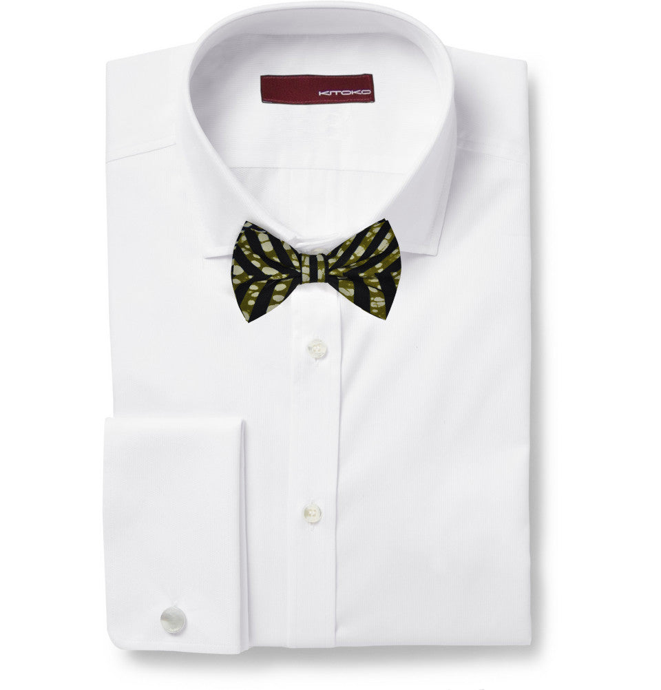 Dutch Wax Olive & Black Bow Tie - KITOKO