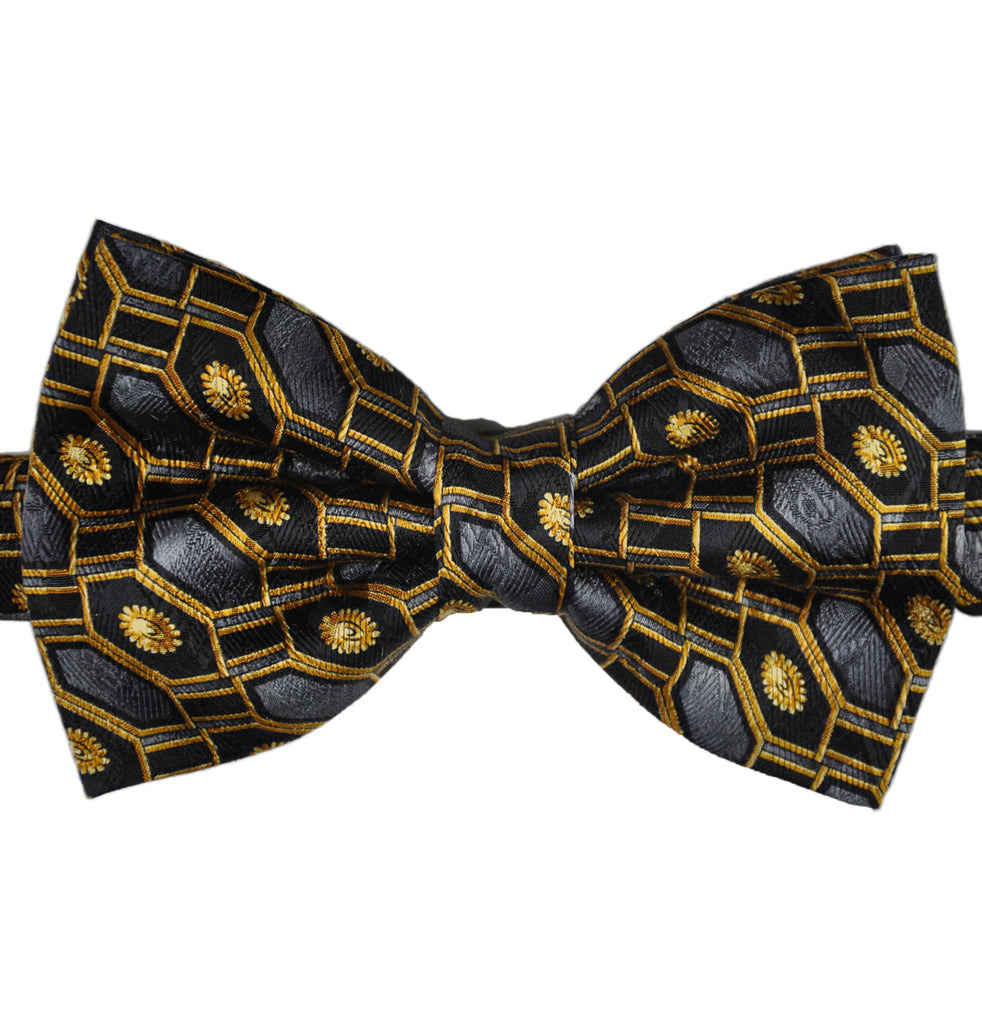Gold Black & Grey Geometry Silk Bow Tie - KITOKO