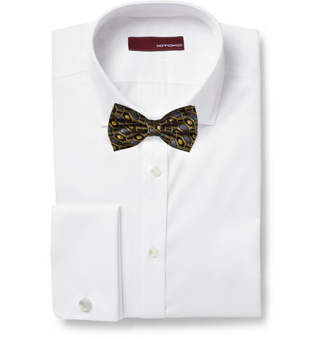 Gold Black & Grey Geometry Silk Bow Tie