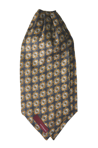 Gold & Grey Print Silk Cravat