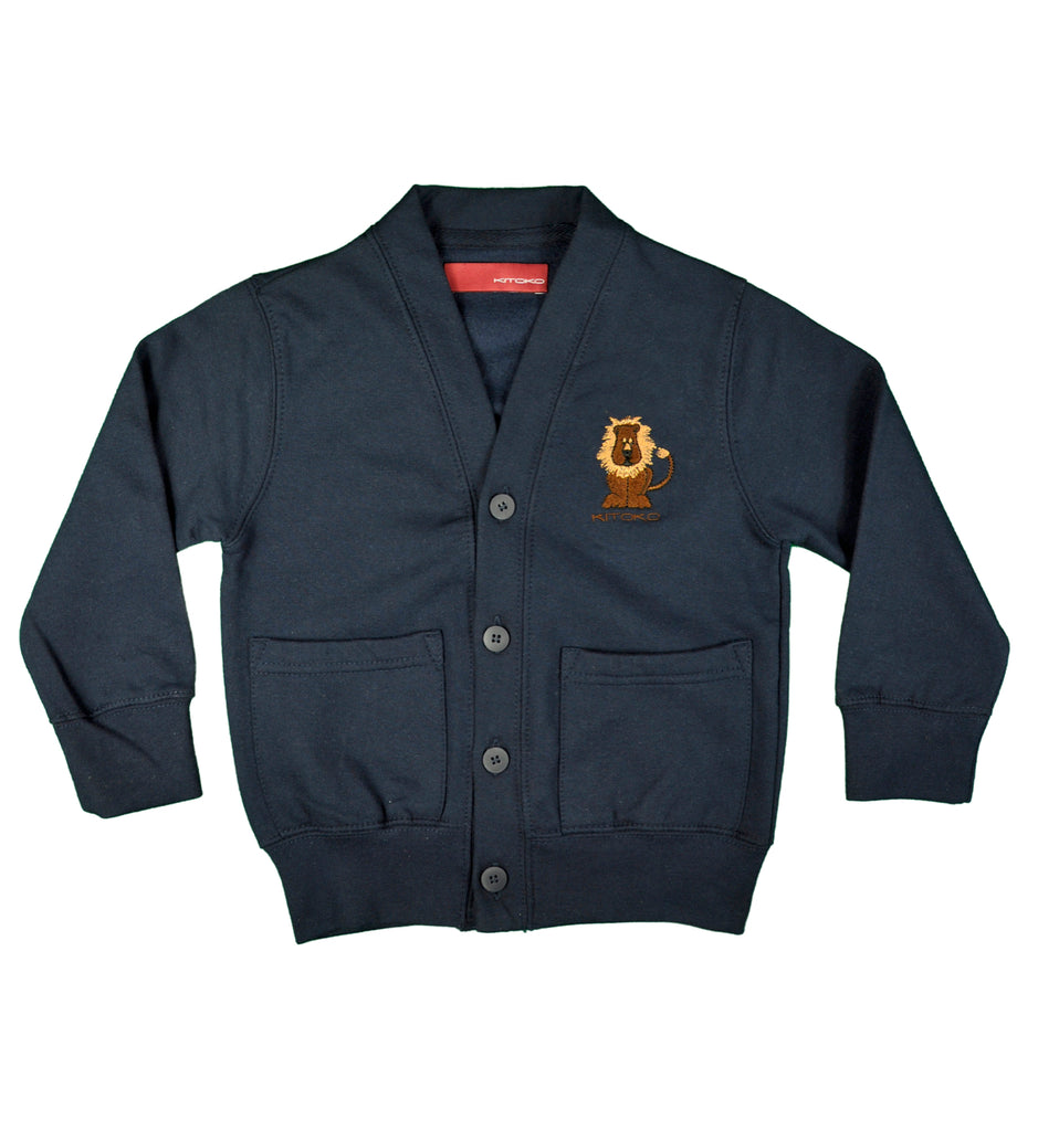Navy boys cardigan with cartoon lion embroidery by kitoko