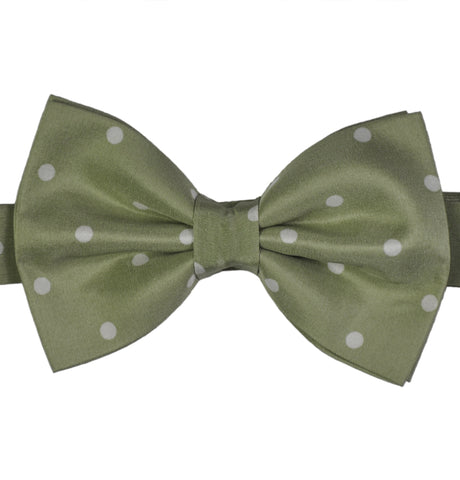 Polka Dots Mint Silk Bow Tie