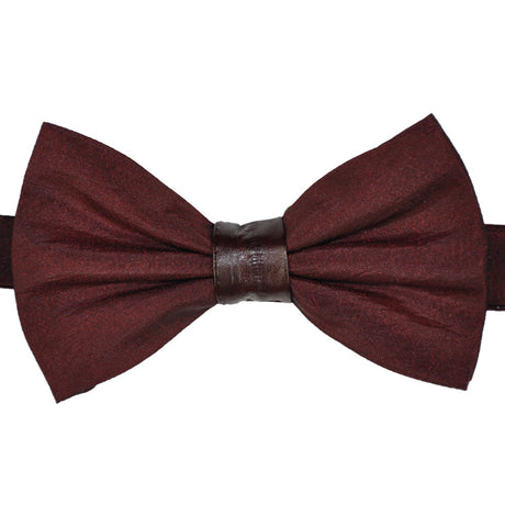 Satin & Eel Skin Wine Bow Tie
