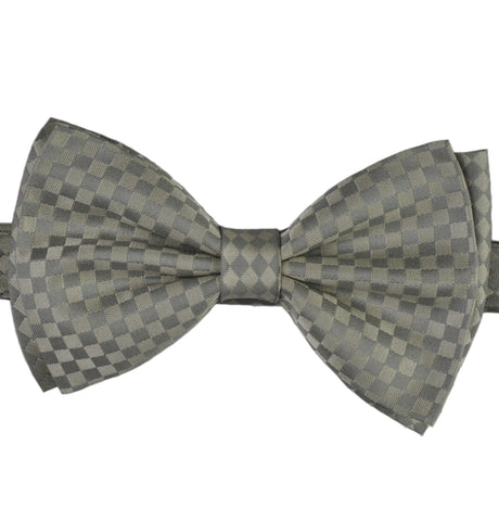 Silver & Grey Domino Checks Silk Bow Tie