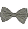 Silver & Grey Domino Checks Silk Bow Tie - KITOKO
