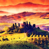 Watercolour Italy Tuscan landscape at Dusk 0267