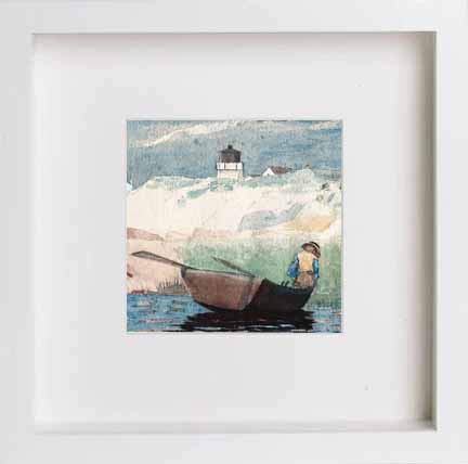 Lumartos, Vintage Boy in Boat Contemporary Home Decor Wall Art Print - [Lumartos]