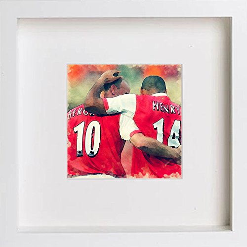 Watercolour Print of Arsenal FC Henry & Bergkamp 0006
