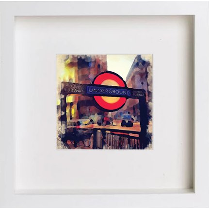 Watercolour Print of The London Underground Sign Over Stairs 230