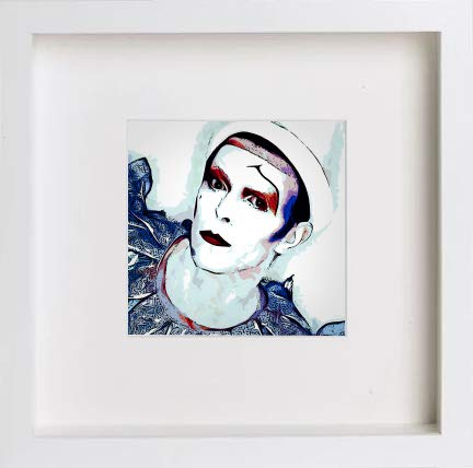 Watercolour David Bowie Pierrot Clown 2 Turquoise 0244