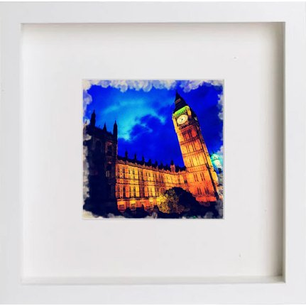 Watercolour Print of Houses ofparliament At Night 220