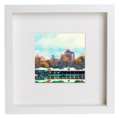Watercolour Print of Watercolour Print of New York City Collection Central Park Boathouse (or Loeb Boathouse) 198