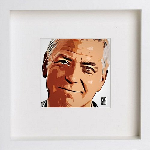 Watercolour Print of George Clooney 0039