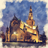 Glasgow Cathedral at Night Watercolour Print Home Office Gift Birthday Anniversary 0043