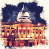 Glasgow Mitchell Library at Night Watercolour Print 0049 - [Lumartos]