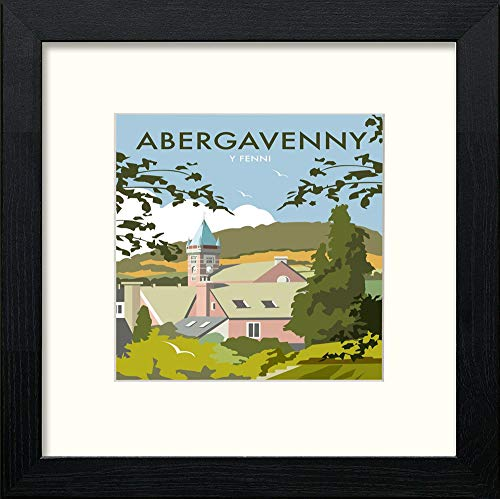 Lumartos, Vintage Abergavenny Poster Contemporary Home Decor Wall Art Watercolour Print - [Lumartos]