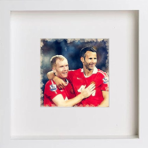 Watercolour Print of Manchester United FC Paul Scholes and Ryan Giggs 127 - [Lumartos]