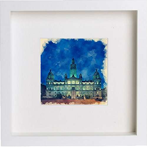 Glasgow City Chambers at Night Framed Watercolour Print Home Office Gift Birthday Anniversary 0044