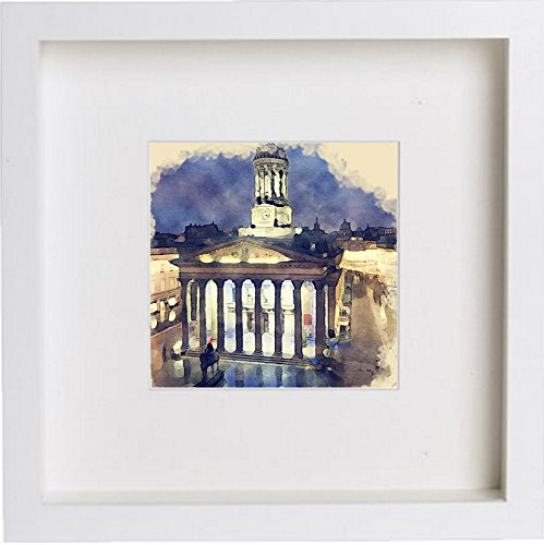 Glasgow Royal Exchange Square at Night Framed Art Artwork 0062