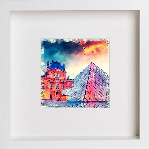 Watercolour Print of Paris Collection The Louvre 166