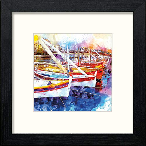 Lumartos, Fishing Boats in Harbour Contemporary Home Decor Wall Art Watercolour Print - [Lumartos]