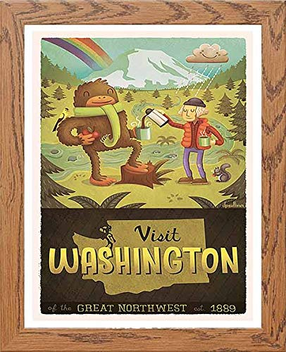 Vintage Poster Washington State Hiking Camping Nature - [Lumartos]