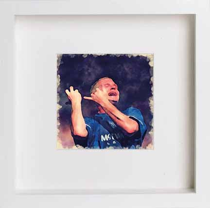 Watercolour Print of Glasgow Rangers Football Club Paul Gascoigne Artwork 0059