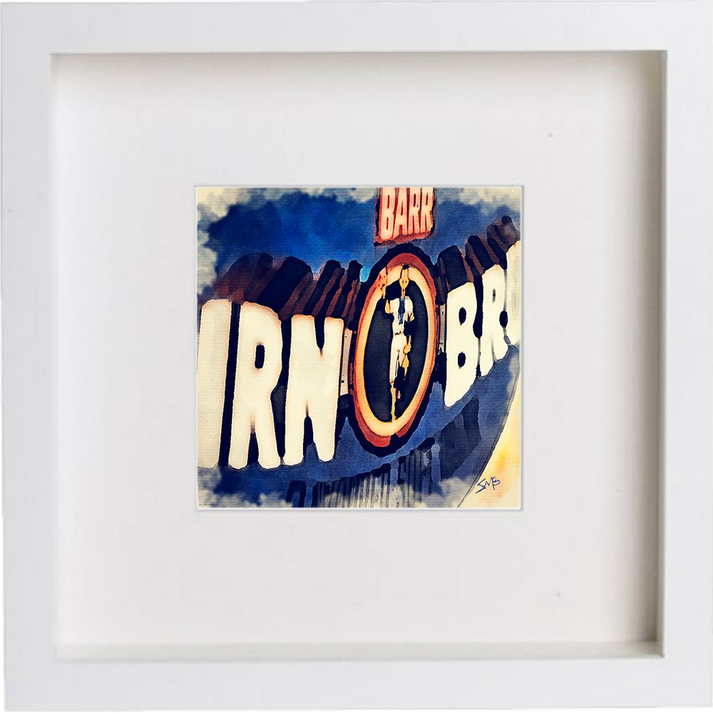 Watercolour Print of Irn Bru Glasgow, Scotland 88 - [Lumartos]