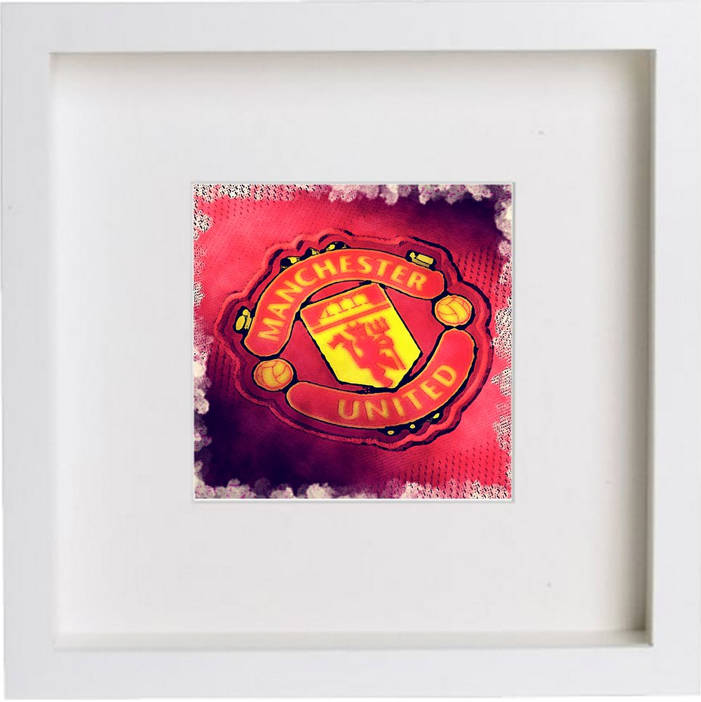 Watercolour Print Of Manchester United Football Club Crest Badge 128