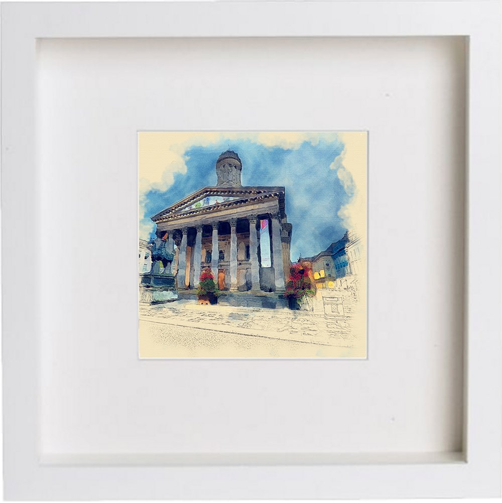 Watercolour Print of Royal Exchange Square Glasgow, Scotland 182
