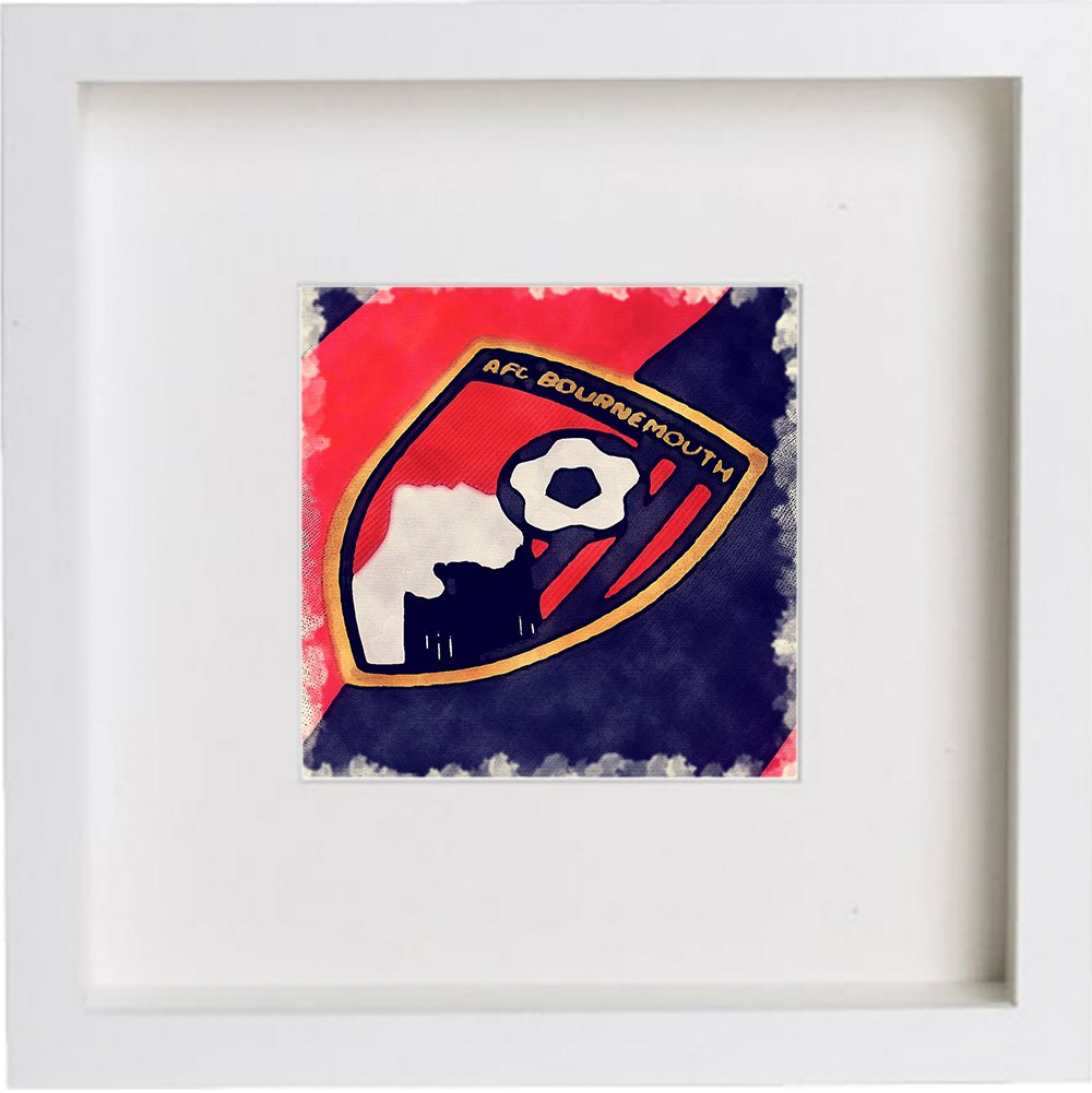 Watercolour Print of AFC Bournemouth Crest Badge 0001
