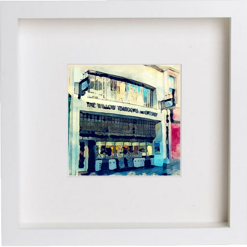 Watercolour Print of Glasgow Rennie Macintosh Willow Tearooms Glasgow, Scotland 0173