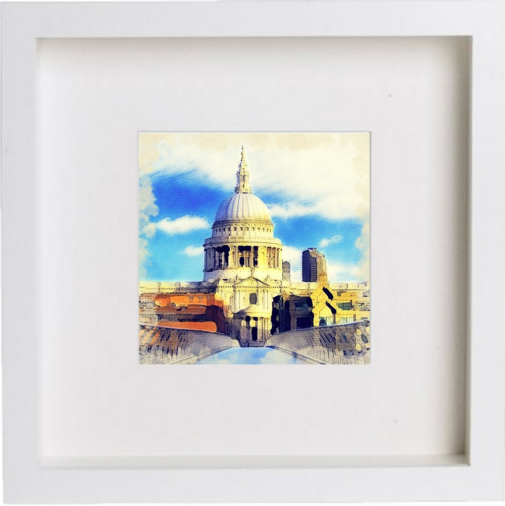 Watercolour Print of London St Paul's Cathedral Framed Art Print 107
