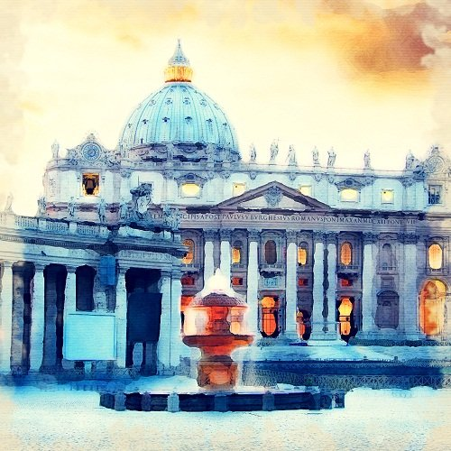 Watercolour Print of Rome Collection Basilica of St. Peter 177
