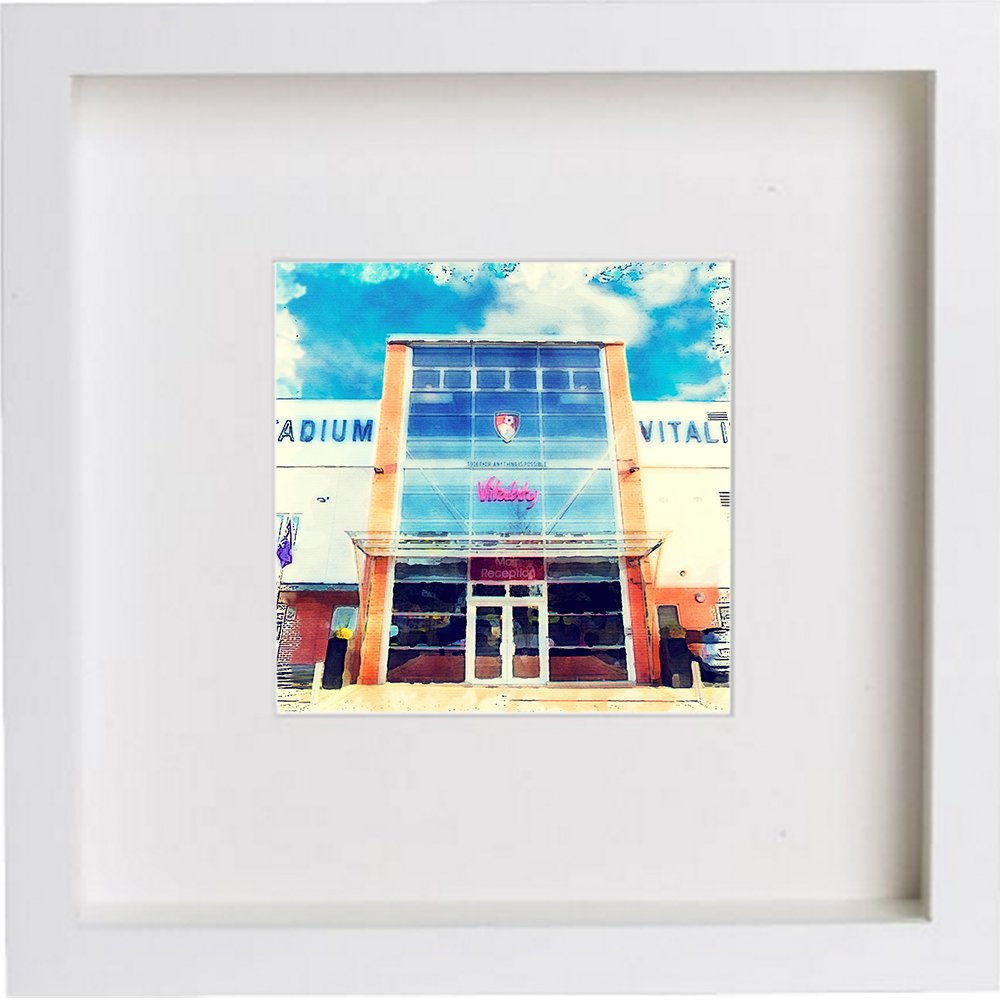 Watercolour Print of AFC Bournemouth, Vitality Stadium 0002