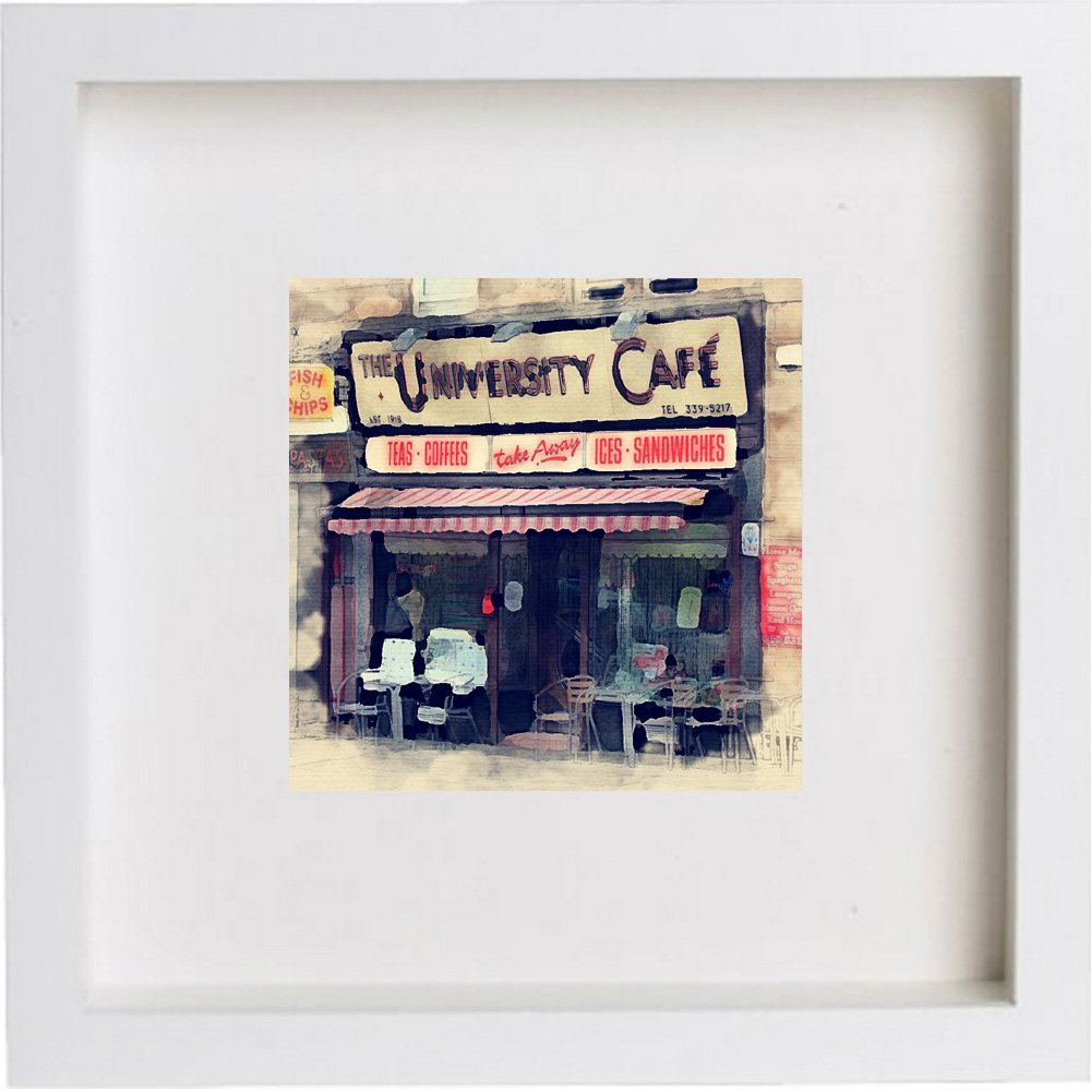 Watercolour Print of The University Cafe Glasgow, Scotland 193
