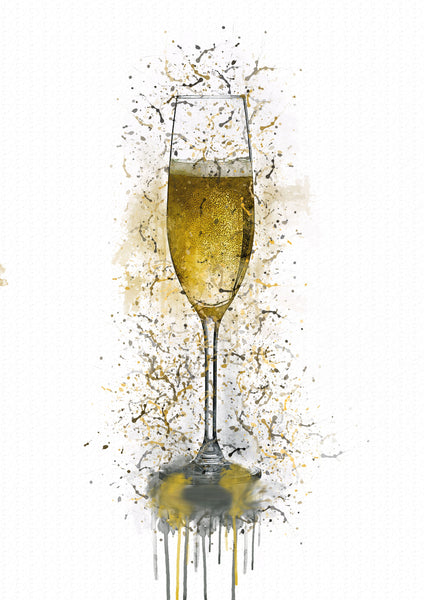 Champagne Glass Splash Print - [Lumartos]