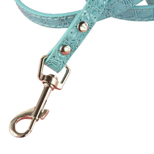 New Crocodile Pattern Soft Leather Pet Dog Leash Lead Puppy Chain