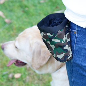 Puppy Pouch Walking Treat Bag / Waste Storage bag Holder Green/Pink Camo Print
