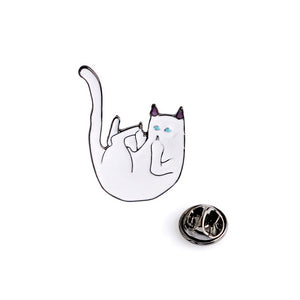 Cute Cat On Branch Cat With Banana Leaf Brooch Pins Enamel Pins