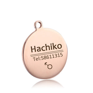 Free engraving collar decoration,  stainless steel customized tag