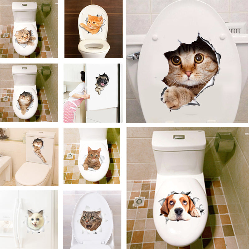 3D Hole View Animal Decals Art Sticker Wall Poster