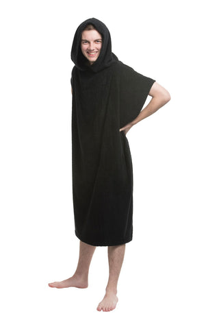 Hooded Adult Beach Poncho Black - Alluretex Wholesale Towels
